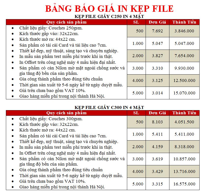 Báo giá in kẹp file giá rẻ